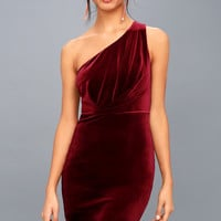 Candlelit Date Burgundy Velvet One-Shoulder Bodycon Dress