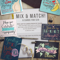Mix and Match Cards - Funny, Special Cards - Choose 6 Greeting Cards - Birthday, Anniversary, Just Because, Valentine's Day, Thank you