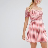 ASOS Off Shoulder Sundress With Shirring In Gingham at asos.com