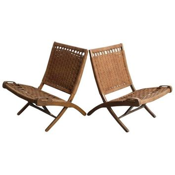 Pre-owned Mid-Century Modern Woven Chairs - A Pair