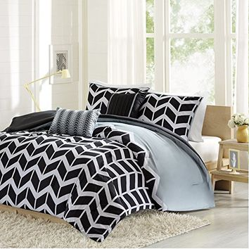 Intelligent Design -Nadia -All Seasons Comforter Set -5 Piece - Black - Geometric Pattern - Full/Queen Size - Includes 1 Comforter, 2 Shams, 2 Decorative Pillows - Ideal For Guest Room