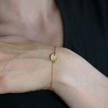 Simple Tiny Gold Disc Bracelet / Minimalist Gold Everyday Jewelry by burnish