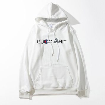Champion Cross word LOGO embroidery hooded sweatshirt C basic style fashionable white draped thin wool trap head hooded sweater