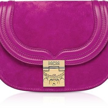 MCM Trisha Viva Lilac Suede and Leather Small Shoulder Bag