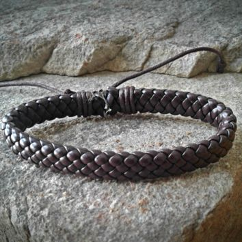 Brown Leather Braided Adjustable Unisex Leather Weave Wrap Bracelets