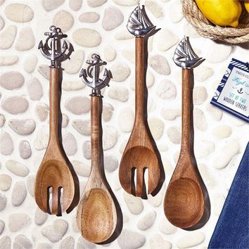 High Tide Wooden Salad Servers with Zinc Alloy and Pull String Storage Pouch
