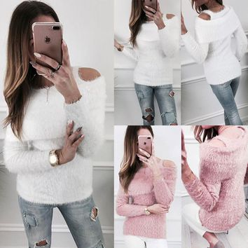 Hirigin Sweater Women UNIF Women Sexy Off Shoulder Pure Color Cardigan Autumn Winter Clothes Faux Fur Sweaters Fashon Shawl New