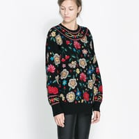 SWEATER WITH EMBROIDERED FLOWERS - Knitwear - Woman | ZARA United States