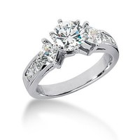 14K White Gold Round & Princess Cut Diamond Promise Engagement Ring (1.35ct.tw, HI Color, SI2 Clarity)