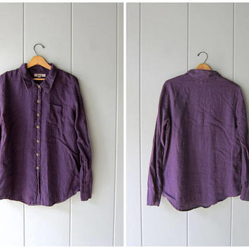 Vintage FLAX brand Shirt Purple Linen Button Down Shirt Long Sleeve Blouse Minimal Linen Shirt Modern Linen Button Up Womens Small Medium
