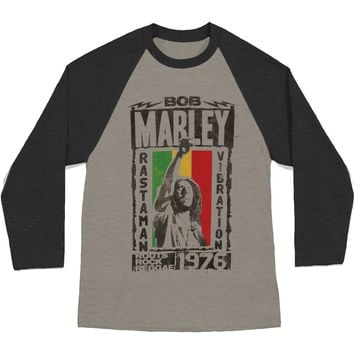 Bob Marley Men's  Rasta Virbration Baseball Jersey White