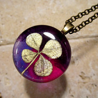 Four-Leaf Clover Necklace, Black Clover leaf jewelry, clover jewellery, plant,