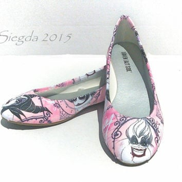 SALE-Deliciously Evil Womens Flats-Disney Villain shoes-Ursula-Maleficent-Evil Queen-Cruella Deville-Wedding-gift for her