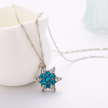 TOMTOSH 2016 Charm Vintage lady Blue Crystal Snowflake Zircon Flower Silver Necklaces & Pendants Jewelry for Women Free Shipping