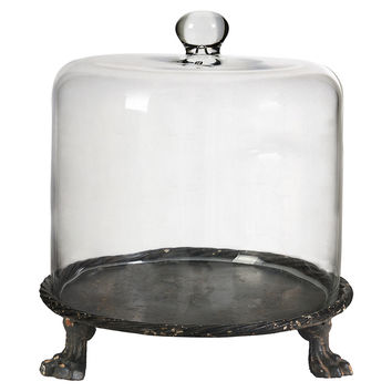 "14"" Footed Glass Cloche, Gray, Cloches & Domes"