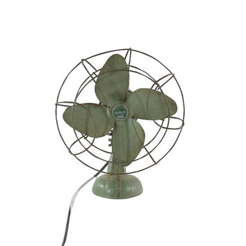 1930s Art Deco Fan, Vintage Kenmore Cast Metal Desk Fan, Retro Office Decor
