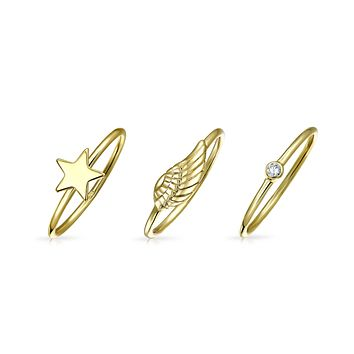 14K Gold Plate Sterling Silver Midi Star Angel Feather Wing Ring Set