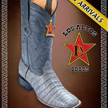 CAIMAN ALLIGATOR BELLY GREY WIDE SQUARE TOE WESTERN COWBOY BOOTS MEN'S by Los Altos Boots