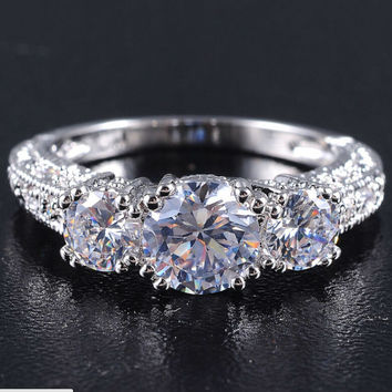 Free Shipping SZ6-9 Engagement Ring 3CT Emerald Garnet Zircon Sapphire 10KT White Gold Gold Filled Women's Wedding Band Jewelry
