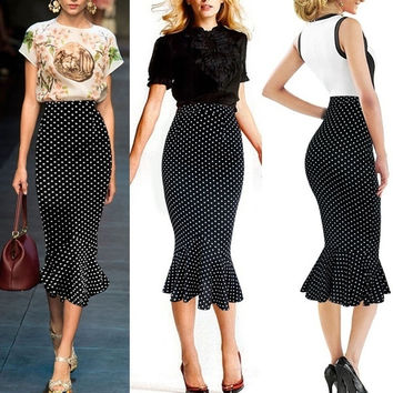 VfEmage Womens Vintage Polka Dot High Waist Party Cocktail Mermaid Pencil Midi Skirt = 1932572292