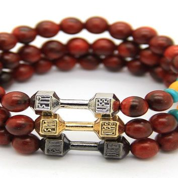 Red Wood Beads Fitness Fashion Motivate GYM Dumbbell Bracelet