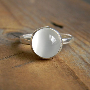 Moonstone and Sterling Ring with Recylced Silver, Made to Order
