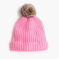 Pom-pom beanie with faux fur