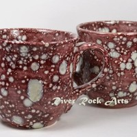 Large Burgundy Snowstorm Ceramic Mugs Set of 2 on Handmade Artists' Shop