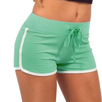 Women Yo-Ga Drawstring Shorts Casual Loose Contrast Cotton BindingSide Split Elastic Waist  Short pants