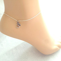 Om, Anklet, Ankle, Jewelry, Om, Yoga, Anklet, Spiritual, Buddhist, Symbol, Buddha, Jewelry, Silver, Anklet, Minimal, Dainty, Cute, Anklet