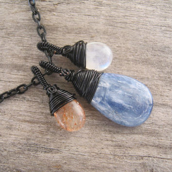 Kyanite Sunstone & Moonstone Necklace, Stars Sun and Moon Wire Wrapped Jewelry, Black, 24 Inches, Choose Your Length, READY To Ship