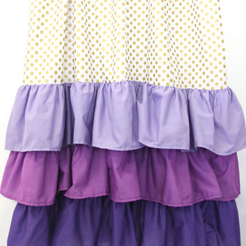 Purple and Gold Dot Ruffle Baby Bedding | Purple and Gold Dots Curtains