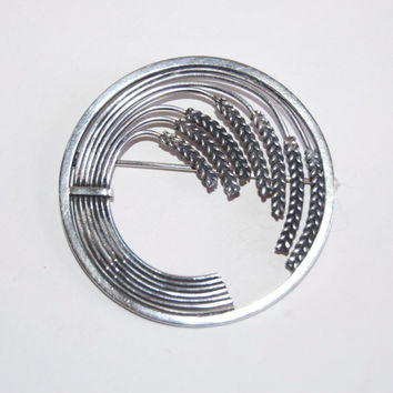 Georg Jensen Sheaf of Wheat Circle Brooch RARE Designer Vintage Pin Minimalist Modernism Sterling Silver Jewelry Accessories  1940s