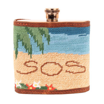 Three Hour Tour Needlepoint Flask by Parlour