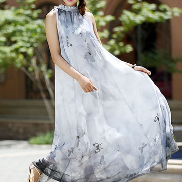 Women chiffon dress - maxi dress butterfly dress  - custom made (1012)