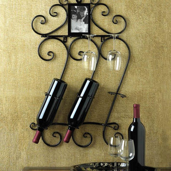 Wine Rack Photo Frame-Wrought Iron Scrolled Wine Bottle & Glass Holder-8 Available