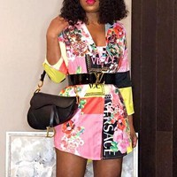 VERSACE Fashionable Women Personality Print Long Sleeve Lapel Shirt Dress