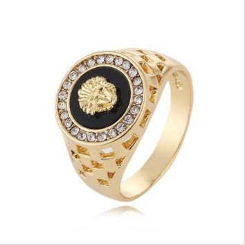 ONETOW Versace Women Fashion Medusa Plated Ring Jewelry