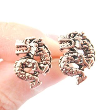 Detailed Dragon Shaped Animal Themed Stud Earrings in Rose Gold | DOTOLY