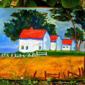 Original Oil Painting Point Cabrillo Lighthouse by honeyscolors