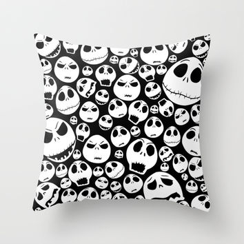 Halloween Jack Skellingtons emoticon face pattern Throw Pillow by Greenlight8