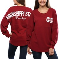 Women's Red Mississippi State Bulldogs Pom Pom Long Sleeve Jersey Top