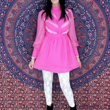 Vintage 60's Mod Dark Pink Fuschia High Collar Victorian Style Poet Sleeves Chiffon Babydoll Mini Dress S