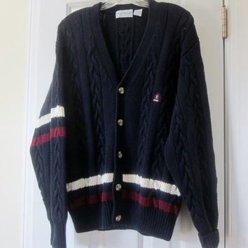 Vintage Navy Blue Izod Cardigan Preppy Grandpa Cardigan Sweater Cable Knit Cotton Mens Medium