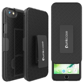 Punkcase iPhone 8 Case With Tempered Glass Screen Protector, Holster Belt Clip & Built-In Kickstand Non Slip Dual Layer Hybrid TPU Full Body Protection [Thin Fit] for Apple iPhone 7 & 8 [Black]