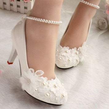 Wedding shoes for women new design ivory lace low high heels flowers pearls anklet woman bridal shoe dress proms party pumps