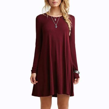 DCCK7XP Solid Long Sleeve Casual Loose Short Dresses Female Beautiful Cheap Round Neck High Street Hot Sale Above Knee Derss