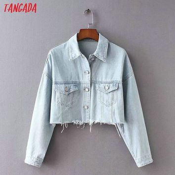 Trendy Tangada women jacket jeans oversized 2018 autumn pockets denim jacket ripped coat female korean 90s jackets outerwear XC01 AT_94_13