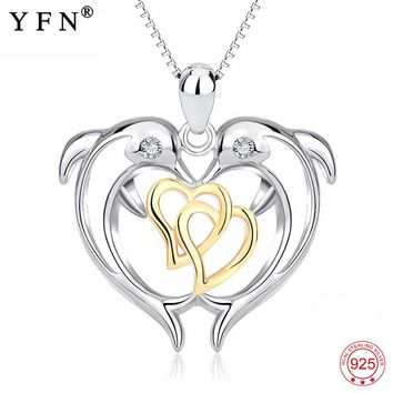Genuine 925 Sterling Silver Necklace Dolphin Double Love Heart Lovely Pendants Necklaces Fashion Christmas Gift Women GNX13970