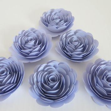 "Light purple paper flowers, set of 6 Large 3"" roses, liliac/orchid color table decoration, Bridal or baby shower decor, Wedding centerpiece"